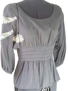Anthropologie Floreat Size 4 Eastern Inspired Top Grey
