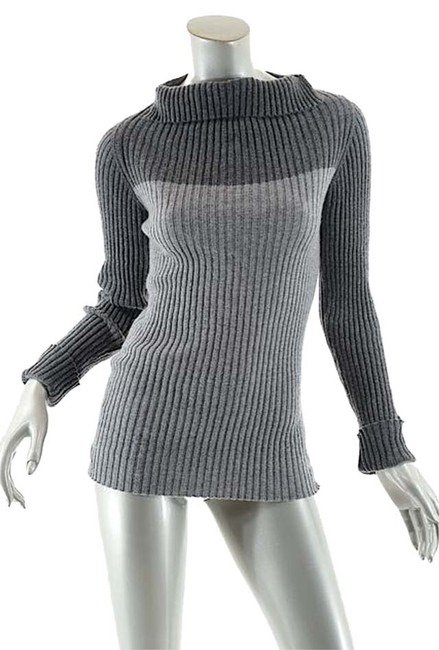 Item - W Gray/Charcoal Cashmere Rib Color-block W/Fun Neck - 44/Us8 Charcoal Gray Sweater
