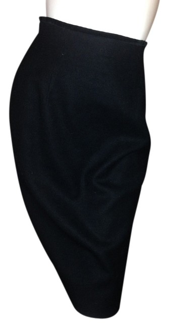 Brooks Brothers Vintage Elegant Audrey Hepburn Velvet Wool Pencil Skirt Black