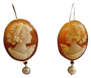 AMEDEO M&M Scognamiglio 14k Solid Gold Pierce Cameo Drop Earrings