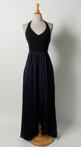 Vera Wang Blue Black Vera Wang Black Bodice Navy Blue Bottom Halter Full Length Dress Gown Sz 2 Dress