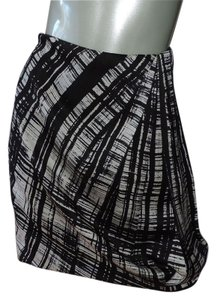 Ann Taylor Silk Charmeuse Mini Skirt black & white