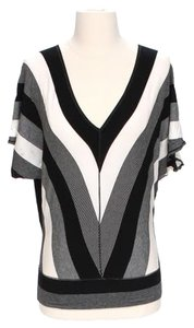 Max Studio Bold Stripe Top Black, White & Gray