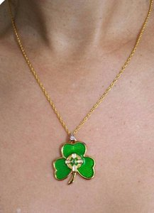 Irish Shamrock Enamel Pendant Sterling Silver gold plated Necklace