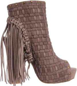 N.Y.L.A. Fringe Peeptoe Taupe Boots