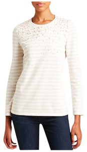 Tory Burch Pearl Dressy Casual Stripes Classy Classic Timeless Trend Trendy Top Sandshell/White