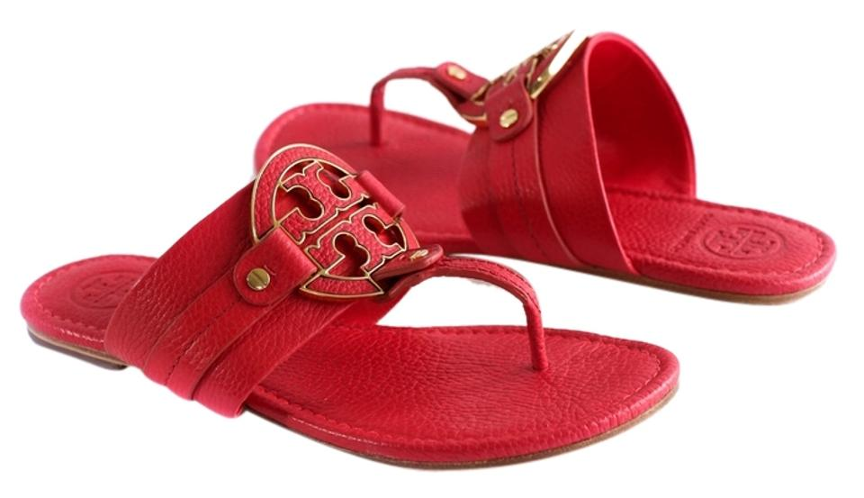 6ae295076f5 Tory Burch Red Amanda Flat Thong - Tumbled Leather Sandals Size US ...