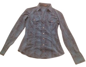 Express Button Down Shirt Blue/Leapord Print