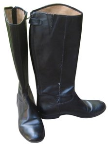 Ciao Bella Leather Zipper Snap Round Toe Riding Cb black Boots