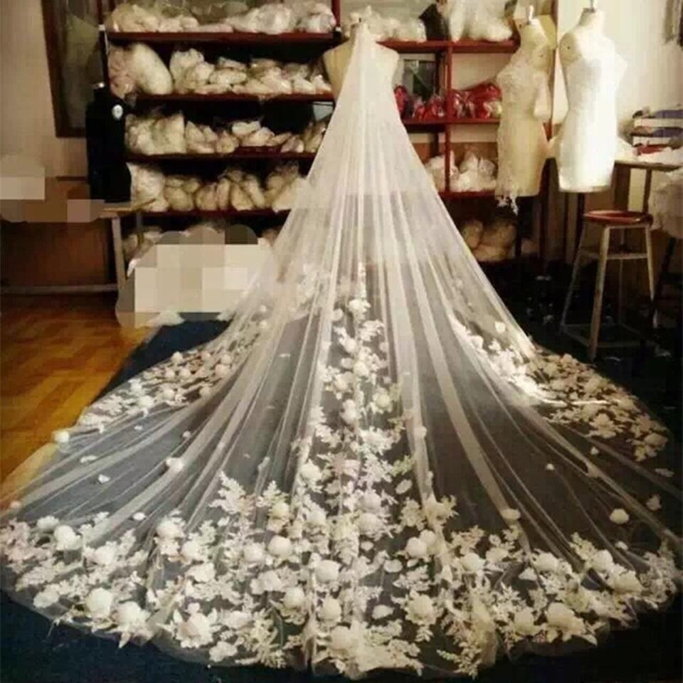 Ivory Long Unique Cathedral Bridal Veil - Tradesy