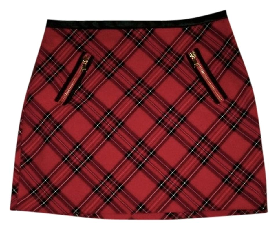33e30b2473 Express Mini Faux Leather Trim Trendy Chic Casual Party Concert Wear Mini  Skirt Red Plaid Image ...