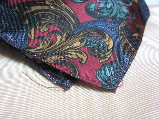 Other Red Green Blue & Gold Intricate Floral Paisley Pattern Silk Blend Handkerchief