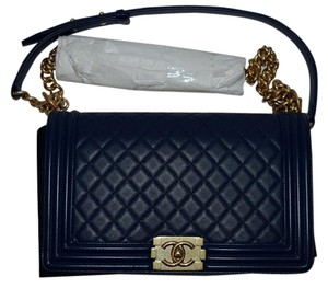 Chanel Boy New Medium Gold Navy Shoulder Bag