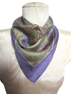 Ralph Lauren Ralph Lauren Purple Green Yellow Intricate Paisley Floral Silk Handkerchief