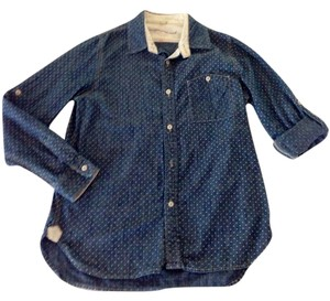 Anthropologie Spring Fall Layer Denim Polka Dot Winter Casual Madewell Jcrew Button Down Shirt Chambray