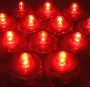 Red 12 Pcs Led Submersible Waterproof Wedding Floral Centerpiece Party Decoration Tea Candle Vase Light