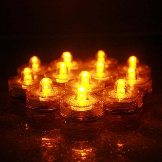 Amber / Yellow 12 Pcs Led / Submersible Waterproof Wedding Floral Centerpiece Party Decoration Tea Candle Vase Light