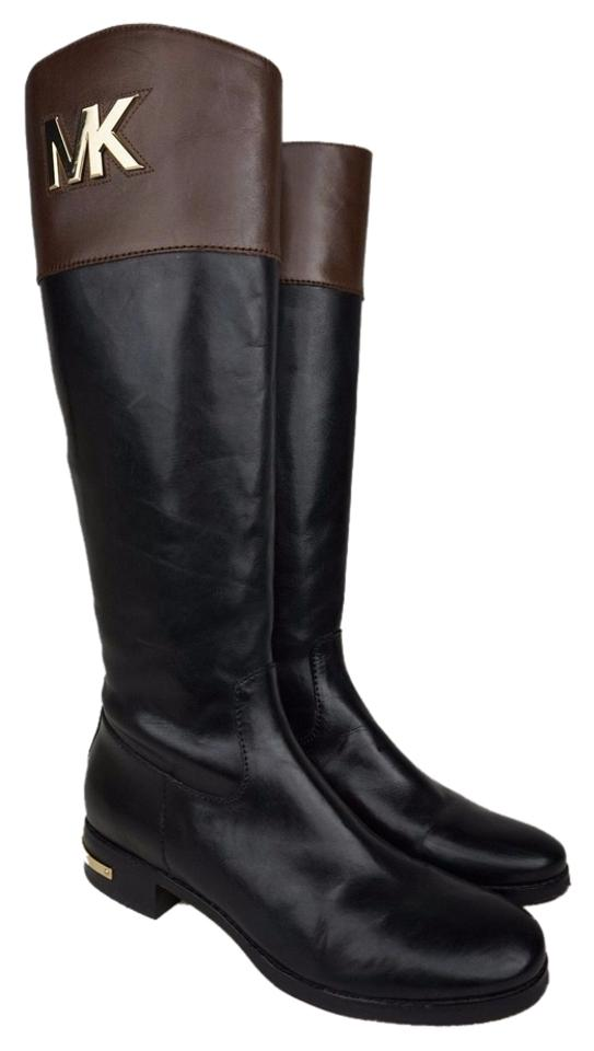 7bb112d7d6b3 Michael Kors Two Tone Black Brown Hayley Leather Riding Boots Booties