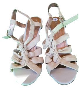 BCBGMAXAZRIA Strappy Heel Leather Nude Sandals