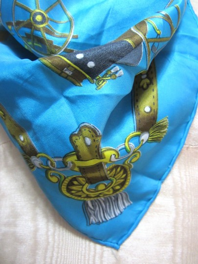 Other Aquamarine & Golden Yellow Horse Carriage Pattern Silk Blend Handkerchief Scarf