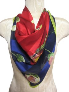 Ellen Tracy Ellen Tracy Purple Red & Green Sheer Silk Blend Scarf w/ Stripe & Fruit Pattern