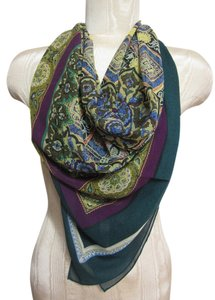 Purple and Emerald Green Intricate Floral Pattern Design Sheer Chiffon Scarf