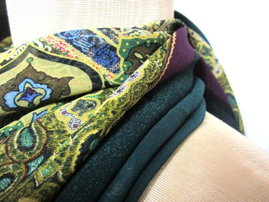 Other Purple and Emerald Green Intricate Floral Pattern Design Sheer Chiffon Scarf