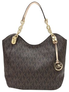 Michael Kors Lilly Large Pvc Signature Gold Hardware Hanging Mk Logo Charm Leather Shoulder Straps Mk Logo Chain 17 X 4 X 14 Approx Tote in Brown