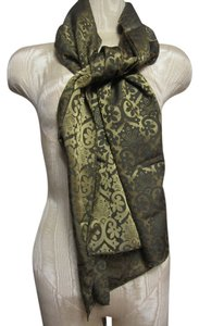 Brown & Golden Paisley Floral Geometric Pattern Long Rectangular Scarf Wrap