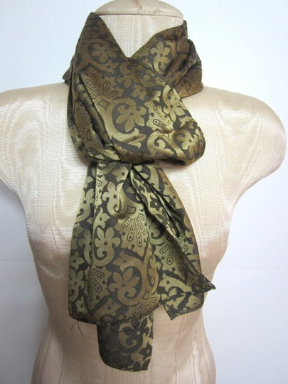 Other Brown & Golden Paisley Floral Geometric Pattern Long Rectangular Scarf Wrap