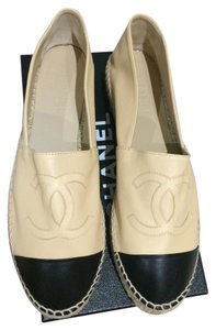 Chanel Espadrilles Espadrille Espadrille Espadrilles New Leather Leather New Lambskin Lambskin 2015 2016 Double Sole Sz Beige with Black Cap Flats