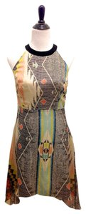 Aryn K Anthropologie J.crew Silk Silk Designer Asymmetrical Bohemian Dress