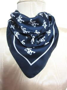 Other Dark Blue & White Dragon Pattern Design 100% Polyester Handkerchief