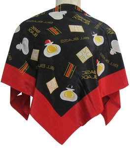 Bill Blass Bill Blass Basic Black Red Yellow Black Perfume Bottle Pattern Silk Blend Scarf