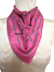 Bright Pink Golfer Graphic Pattern with Green Trim Silk Blend Handkerchief