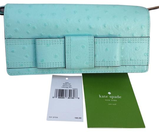 Kate Spade NWT KATE SPADE Mara Valencia Road Beige Blue Ostrich Leather Wallet Wristlet