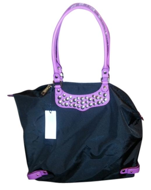 Item - H6121900s/Travel Tote with Studs Black/Purple Leather/Nylon Weekend/Travel Bag