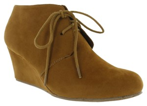Red Circle Footwear Wedge Laceup Casual Camel Wedges