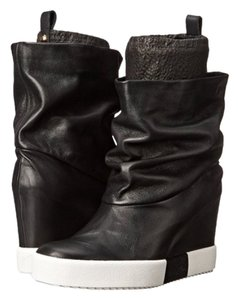 Giuseppe Zanotti Black Leather Wedge Boots