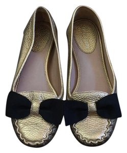 Kate Spade Leather Bow Flat Gold Flats