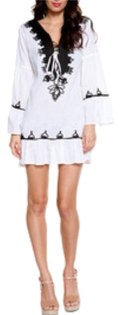 Item - White Black New Cotton Embroidered Bohemian Boho Cover-up/Sarong Size 6 (S)