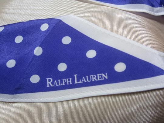Ralph Lauren Ralph Lauren Bright Purple & White Polka Dotted Silk Blend Hair Wrap Bandana