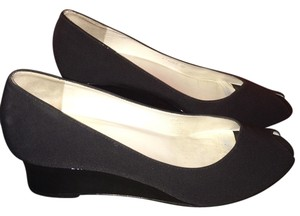 Bruno Magli Fabric Patent Black Wedges