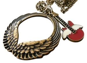 ANGEL WING GUITAR LONG CHAIN CHARM NECKLACE