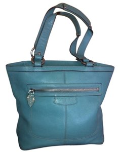Coach Penelope Pebbled Leather Blue Zip Top K1063-f14683 Tote in Teal