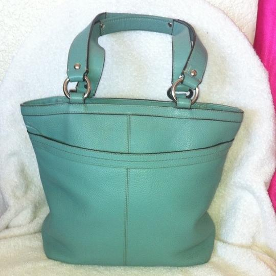 Coach Penelope Shopper Pebbled Leather Blue Zip Top K1063-f14683 Tote in Teal