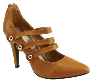 Red Circle Footwear Pointy Triple Straps Mary Jane Tan Pumps