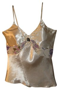Angie Keyhole Sheer Spaghetti Strap Top Ivory and floral