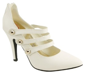 Red Circle Footwear Pointy Pump Triple Straps White Pumps
