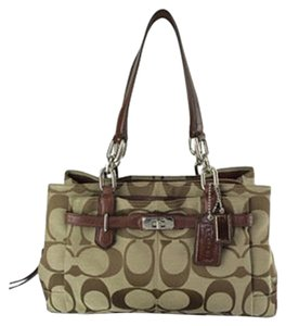 Coach Chelsea Jayden 17806m Jacquard Satchel in Khaki and Walnut Brown